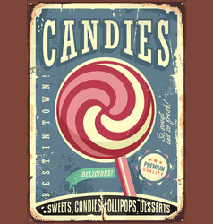 lollipop retro sign design vector image vector image