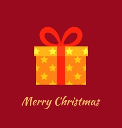Merry Christmas with Gold Gift vector image vector image