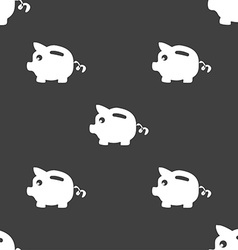 Piggy bank icon sign Seamless pattern on a gray vector image