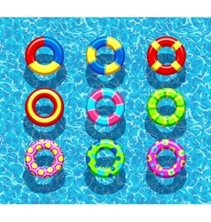 Pool rings on blue water background vector