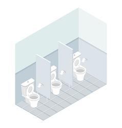 Public toilet isometrics Interior overall restroom vector image