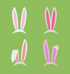 rabbit ears collection for easter set of masks in vector image vector image
