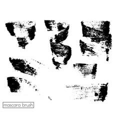 set of brush strokes mascara grunge black vector image vector image