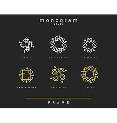 Set of elegant monogram Emblem design vector image