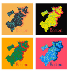 set of map of boston city flat vector image vector image