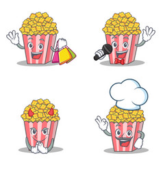 Set of popcorn character with shopping karaoke vector
