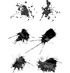 set of six brush strokes with spray in gray vector image vector image