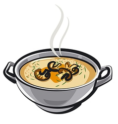 soup with mushrums vector image vector image