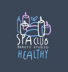 spa club beauty and healthy studio logo badge vector image vector image