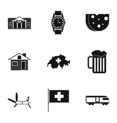 Tourism in Switzerland icons set simple style vector image vector image