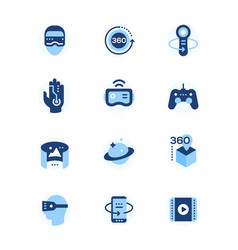 Virtual reality - set of flat design style icons vector