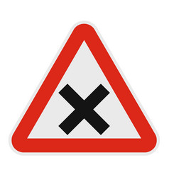warning of intersection road icon flat style vector image vector image