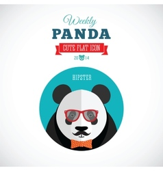 Weekly panda cute flat animal icon - hipster vector