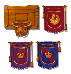 wicker basket ball flags with symbols vector image vector image