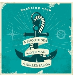 Yachting club vintage style poster vector