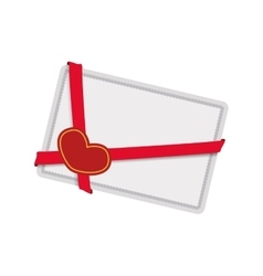Heart letter ribbon red love romantic icon vector