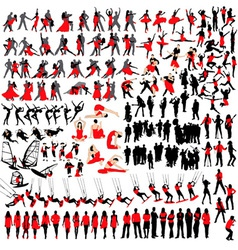 People at leisure silhouettes vector