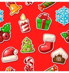 Merry Christmas seamless pattern set icons on red vector image