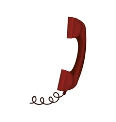 Red antique telephone with cord vector