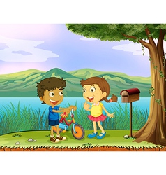 A young boy holding a bike and a girl near a vector image