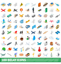 100 belay icons set isometric 3d style vector