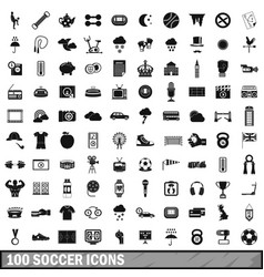 100 soccer icons set simple style vector image