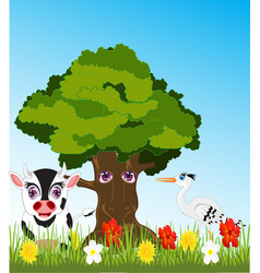 tree and animals on glade vector image