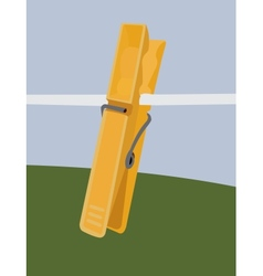 Yellow clothespin vector