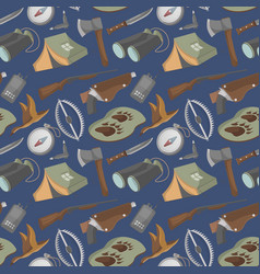 Seamless pattern with hunting equipment icons vector