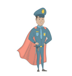 Hispanic policeman wearing a red superhero cloak vector