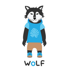 Young wolf in a jacket with a hood art vector