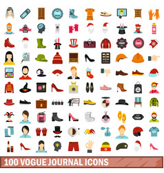100 vogue journal icons set flat style vector