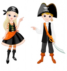 Halloween pirate couple pointing vector