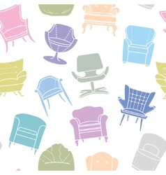 Seamless pattern of armchairs vector