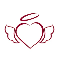 Hand drawn heart with wings and halo on top vector