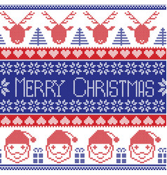 Dark blue and red scandinavian merry christmas vector