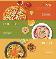 Popular food web banner flat design vector