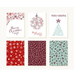 Merry christmas outline greeting card pattern set vector