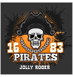 Skull in pirate hat - jolly roger vector