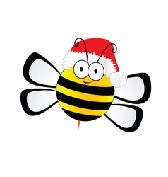Bee sweet with christmas hat in colorful vector