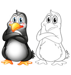 Animal outline for cute penguin vector