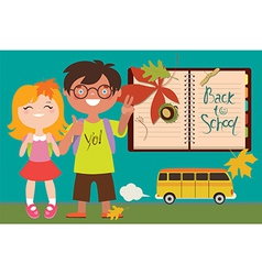 Back to school with kids and bus vector image