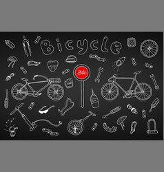 bicycle collection in doodle stylehand drawn vector image