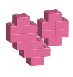 building bricks in 3d broken heart vector image