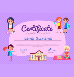 certificate of graduation poster with students vector image