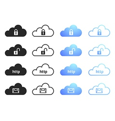 Cloud computing icons - set 4 vector image vector image