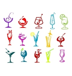 Cocktails with straws fruits and umbrella vector image vector image