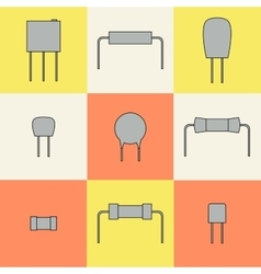 Electronic components icons set resistors vector