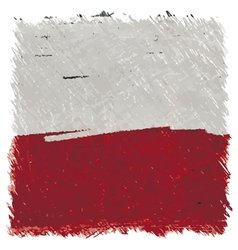 Flag of poland handmade square shape vector