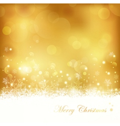 Golden glowing Christmas background vector image